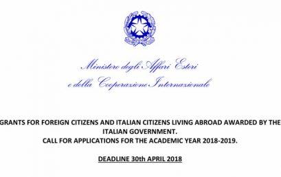 Hapet thirrja për dhënien e Bursave të Studimit që ofrohen nga Qeveria Italiane për Vitin Akademik 2018-2019